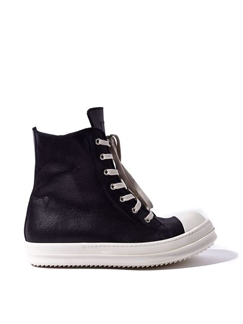 rick owens mens high sneakers in black for lyst