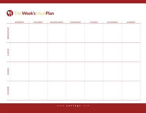 free printable menu planner with snacks weekly meal planner template with snacks planner