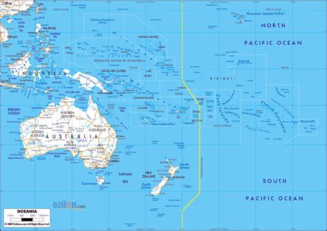 physical map of oceania maps of australia and oceania and oceanian countries