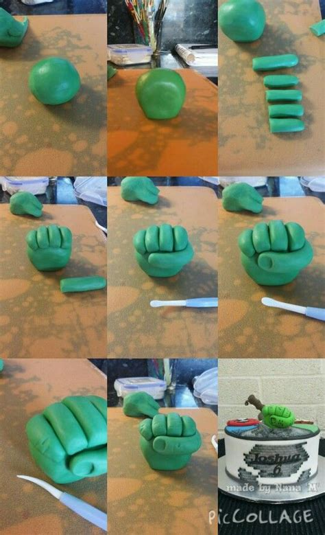 my tutorial for hulk hand made with fondant tylo powder