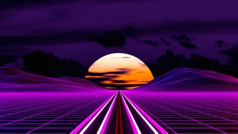 wallpaper synthwave retrowave moon mountain road