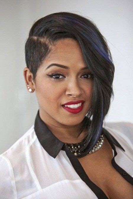 short hair longer on one side short hairstyles for black women short on one side long on
