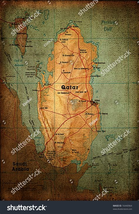 Qatar Address Finder Qatar Map On Vintage Paper Stock Photo 16440964