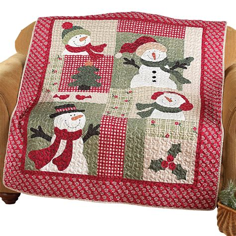 Quilted Patchwork Throw - country snowman quilted patchwork throw by collections