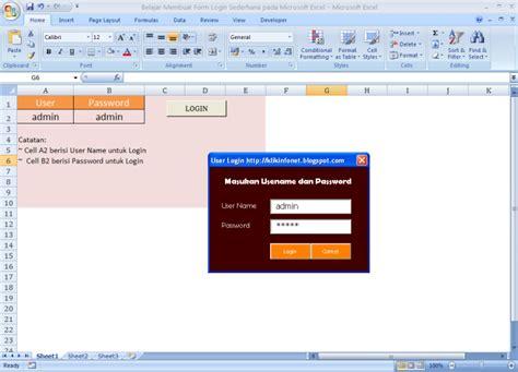 membuat form login excel belajar membuat form login sederhana pada microsoft excel