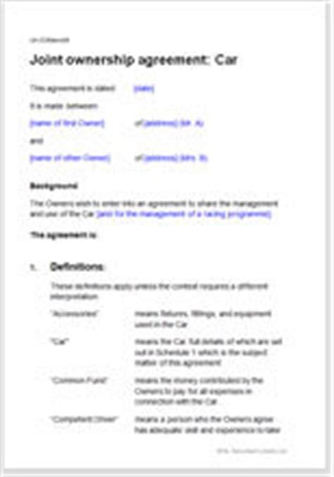 Car Or Vehicle Owners Sharing Agreement Fractional Ownership Agreement Template