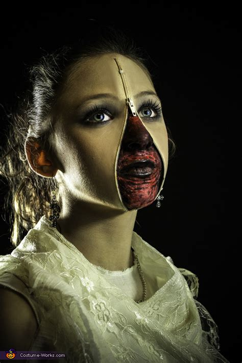 zipper face girl costume creative diy costumes photo