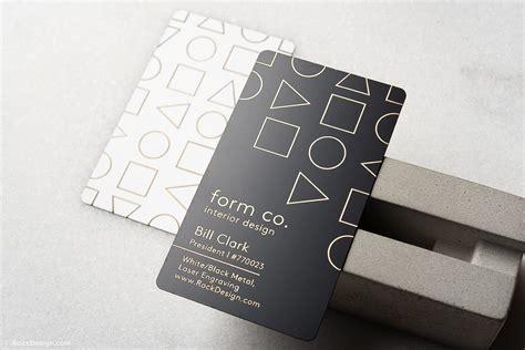 simple  clean interior design quick metal business card