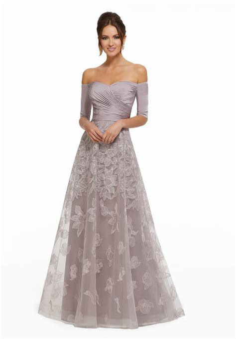 Stretch Crepe Bodice on Floral Embroidered Net Skirt