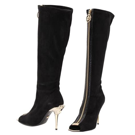 new versace knee high black suede boots with gold medusa