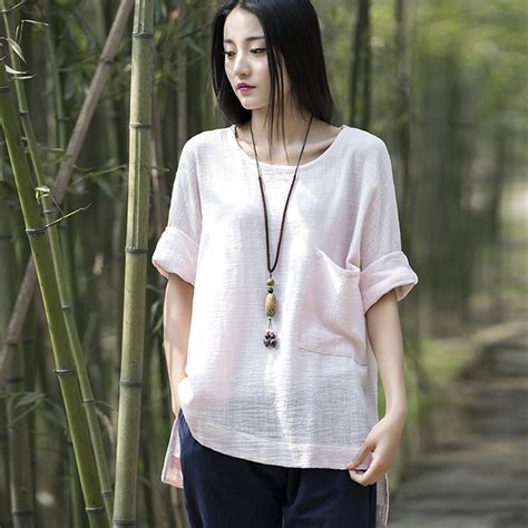 Blouse Big Size Brand Duck aliexpress buy solid o neck cotton linen