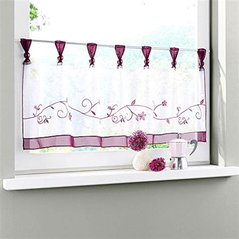 cute kitchen window curtains uphome 1pcs cute embroidered floral window tier curtain
