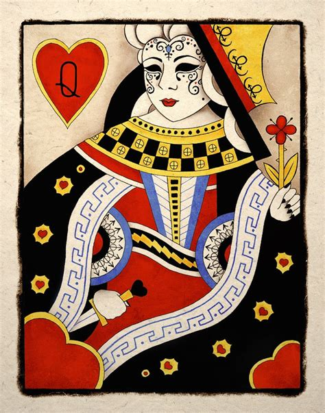 playing card print etsy dark sinister queen of hearts gothic art print