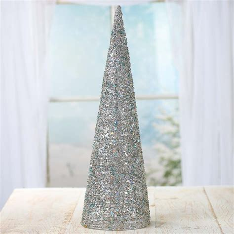 cone tree silver sparkling mesh beaded cone tree new items