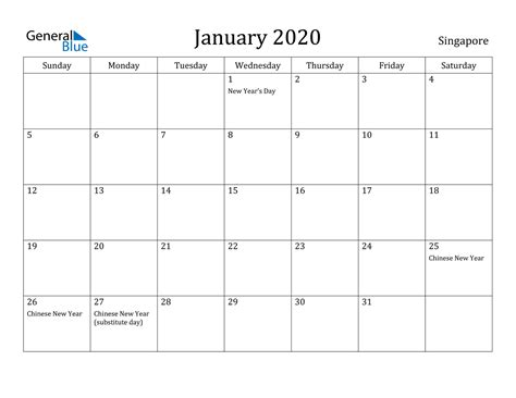 january  calendar singapore