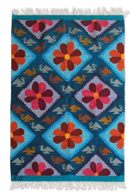 peace area rug unicef uk market handwoven vibrant floral wool accent area rug 4x5 5 flower of peace