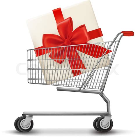 gift for shopping shopping cart and gift box vector illustration stock