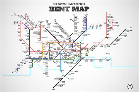 uk subway map underground rent map from thrillist shows cost of