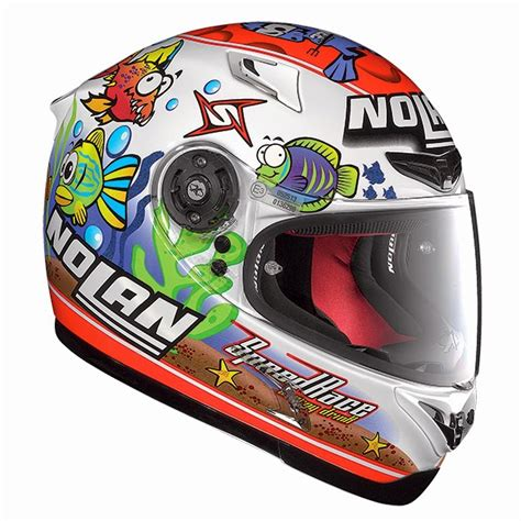 Helm Nolan N64 Melandri Aquarium White N 64 Fish Green marco melandri nolan n64 aquarium white helmet replica