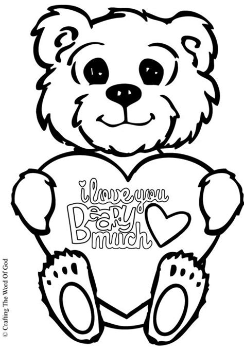 i love you beary much coloring page heart 171 crafting the word of god