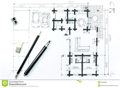 house drawing tool home plan sketch and drawing tools stock illustration