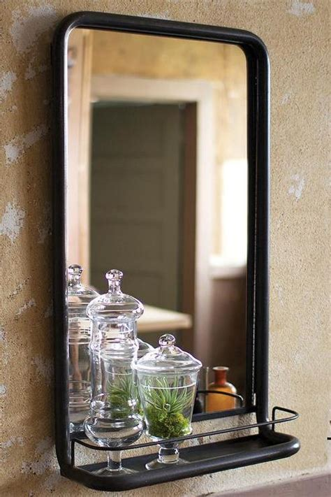 wesley black bathroom mirror  shelf