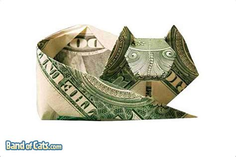 Money Origami Cat - money origami cats band of cats