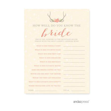 bridal shower how well do you the and groom how well do you the woodland deer wedding