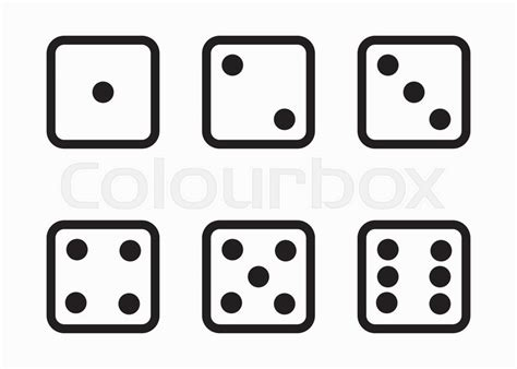 Vector black line dice cubes icons set on white background   Stock Vector   Colourbox