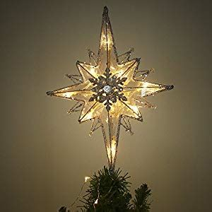 five star lighted tree top valery madelyn 13 5 inch pre lit frozen winter silver and white tree