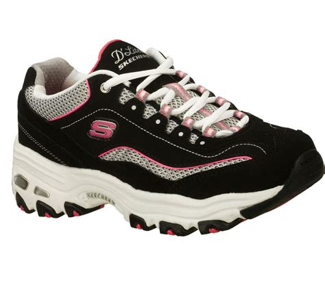 skechers high heels sneakers 11617 black d lites skechers shoe sport soft casual