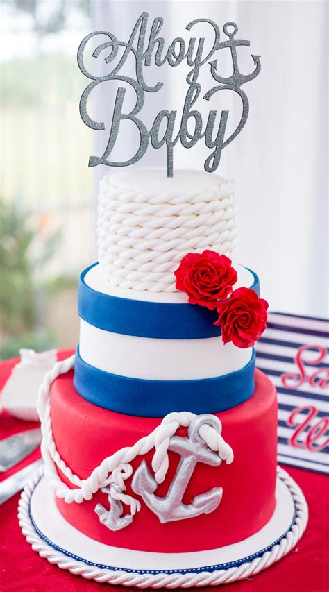 Ahoy Baby Shower Decorations by Nautical Baby Shower Ahoy Baby Cake Topper Baby Shower Cake