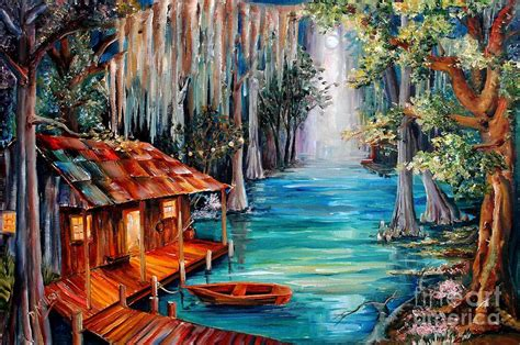 on the bayou moon on the bayou painting by diane millsap