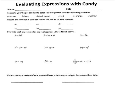 Evaluating Variable Expressions Worksheets by Evaluating Expressions Worksheet 6th Grade Free