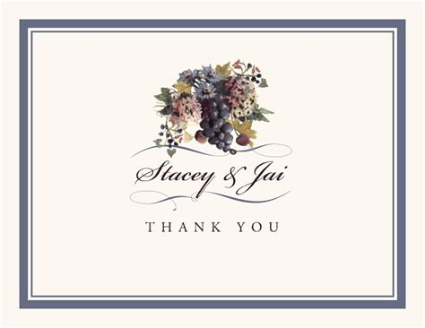 Thank You Letter Design Ideas vineyard themed thank you notes with grapes graphics
