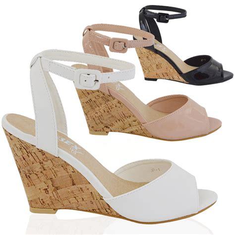 Heels Import 1 womens wedge heel ankle peeptoe casual buckle