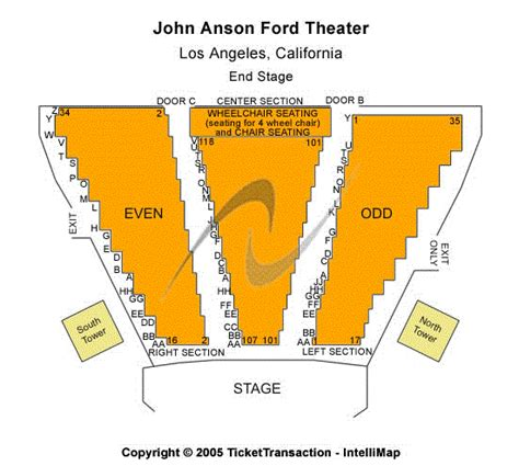 Ford Theater Tickets by Anson Ford Theatre Seating Chart