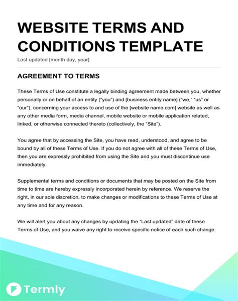 Free Terms Conditions Templates Downloadable Sles Termly Website Terms And Conditions Template
