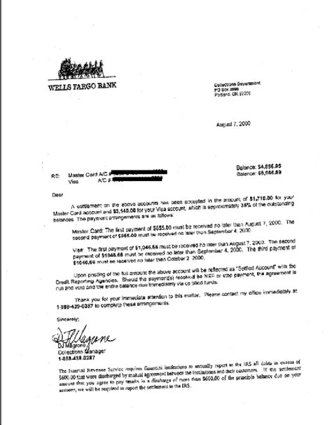 Letter Of Credit Fargo Fargo Debt Settlement Letter