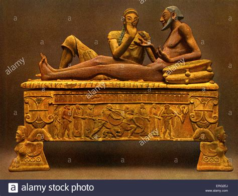 Sarcophagus Of Reclining by Painted Etruscan Sarcophagus Showing A Reclining In