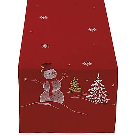 Embroidered Snowman 70 Inch Table Runner in Red   Bed Bath