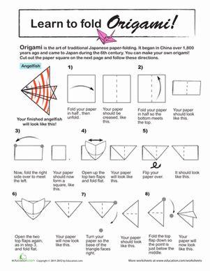 origami angel printable origami angel fish worksheet education com