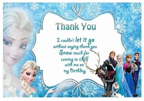Frozen Thank You Card Template by Frozen Tnx Thank You Cards Free Printables