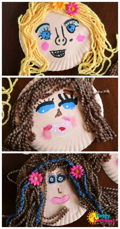 plating hair with wool pictures adorable paper plate self portrait craft for kids happy