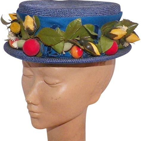 Blue Boater Hat vintage blue boater hat with flowers and berries from