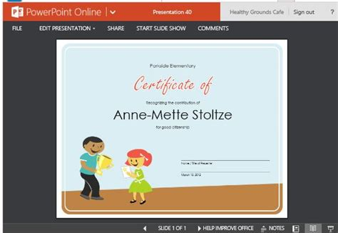 certificate of award template for students powerpoint