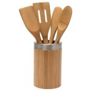 Kitchen Utensil Canister bamboo utensil holder with 4 utensils eco friendly cookware