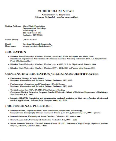 Cv In Education 7 Education Curriculum Vitae Exles Free Premium Templates