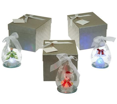 kringle express set of 3 illuminating glass ornaments with
