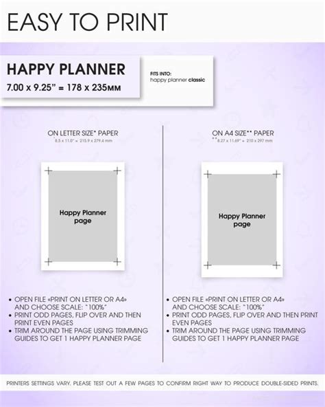 free printable planner pages classic size 23 best diy planner printable happy planner inserts
